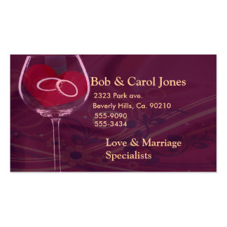 Anillos en casar la copa de vino tarjetas de negocios