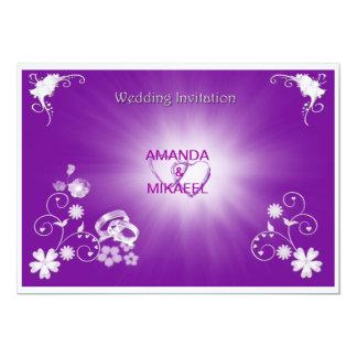 """Anillos púrpuras invitación 5"""" x 7"""""""