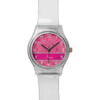 Anillos rosados conocidos de encargo de los reloj de mano