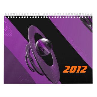 Anillos y esfera púrpuras (música espiral) calendarios de pared