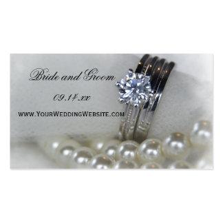 Anillos y perlas de diamante que casan el Web site Tarjetas De Visita
