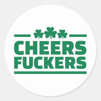 Anima el día de St Patrick de los fuckers Pegatina Redonda