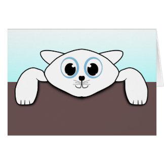 Animación blanca linda del ejemplo del gato tarjeta de felicitación