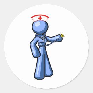 Animación del icono del oficio de enfermera etiqueta redonda
