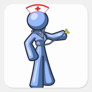 Animación del icono del oficio de enfermera pegatinas cuadradas