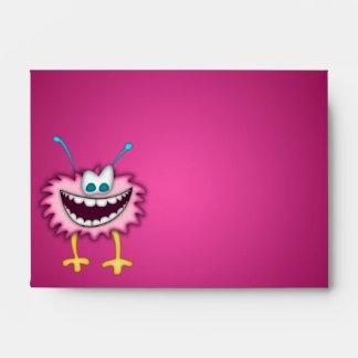 Animación púrpura rosada de la criatura del dibujo sobres
