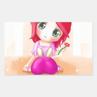 Animado lindo Manga Chibi de Cindy colorido Pegatina Rectangular
