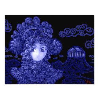 """Animado/princesa gótica oscura de Manga Invitación 4.25"""" X 5.5"""""""