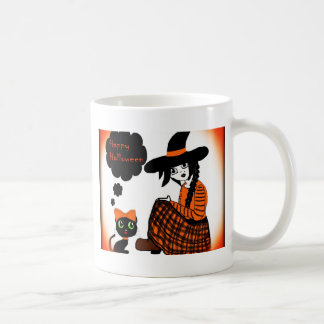 Animado que sienta a la bruja de Halloween Tazas De Café