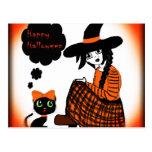Animado que sienta a la bruja de Halloween Postal