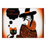 Animado que sienta a la bruja de Halloween Felicitación