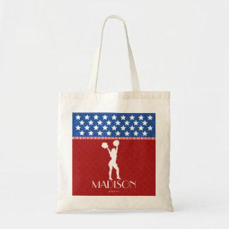 Animadora americana roja, blanca, azul con bolsa tela barata