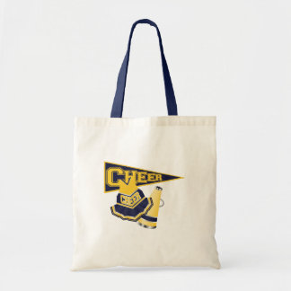 Animadora azul y amarilla bolsa tela barata