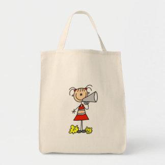 Animadora con el megáfono bolsa tela para la compra