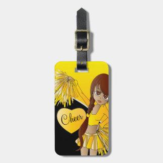 Animadora del amarillo de la diva de la alegría etiqueta para equipaje