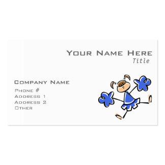 Animadora del azul real y del blanco tarjetas de visita
