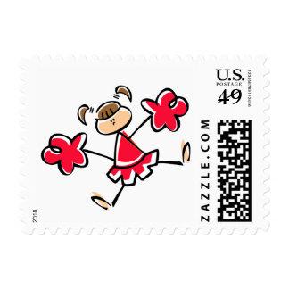 Animadora del rojo del escarlata sellos