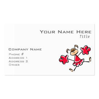 Animadora del rojo del escarlata tarjetas de visita