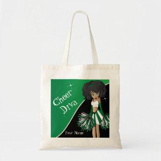 Animadora del verde de la diva de la alegría bolsa tela barata