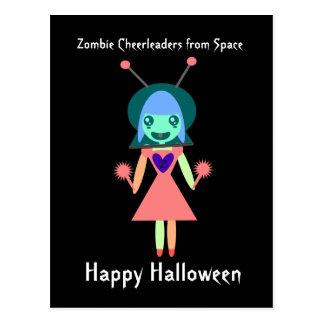 Animadora del zombi del feliz Halloween del Postales
