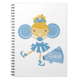 Animadora en azul cuaderno