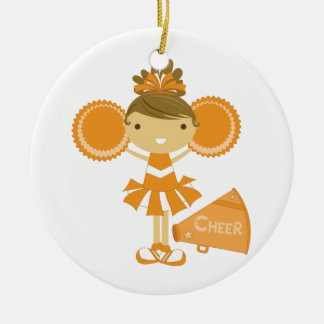 Animadora en naranja ornamento de navidad