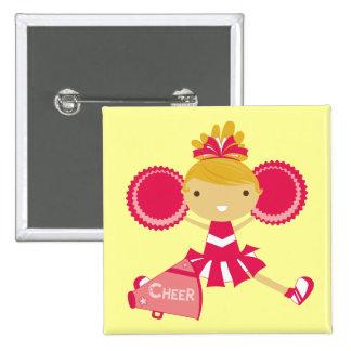 Animadora en rojo pin cuadrado