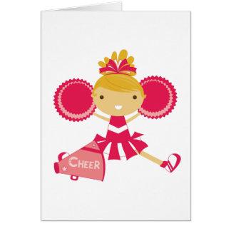 Animadora en rojo tarjeta pequeña