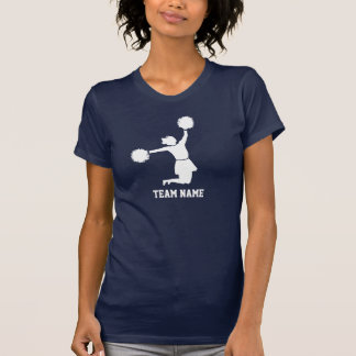 Animadora en salto silueteado blanco en camiseta