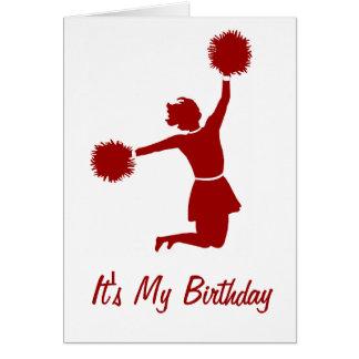 Animadora en tarjeta de la fiesta de cumpleaños de