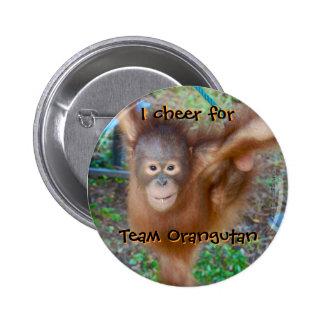Animadora: Orangután del equipo Pin Redondo De 2 Pulgadas