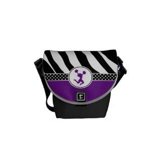 Animadora púrpura/Pom del estampado de zebra Bolsa De Mensajeria
