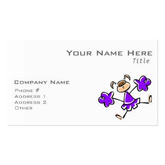 Animadora púrpura violeta tarjetas de visita