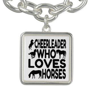 Animadora que ama caballos pulseras con dijer