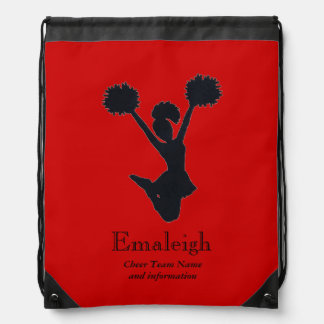Animadora roja en la silueta personalizada mochilas