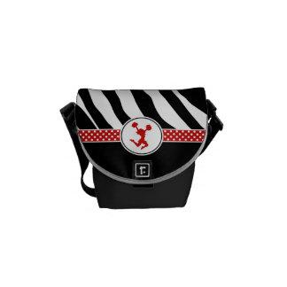 Animadora roja/Pom del estampado de zebra Bolsa Messenger