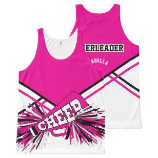 Animadora - rosa fuerte, blanco y negro playera de tirantes con estampado integral