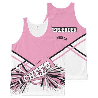 Animadora - rosada, blanco y negro playera de tirantes con estampado integral