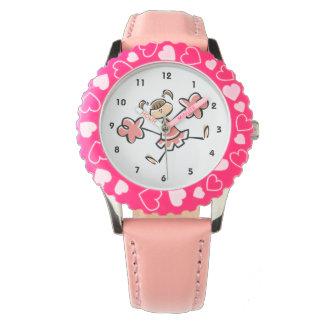 Animadora rosada coralina relojes de pulsera