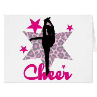Animadora rosada tarjeta de felicitación grande
