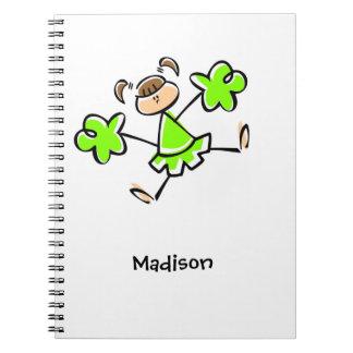 Animadora verde chartreuse, de neón cuadernos