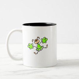 Animadora verde chartreuse, de neón taza de dos tonos