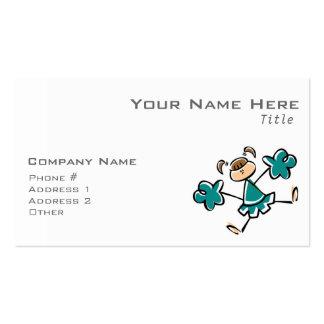 Animadora verde del trullo tarjetas de visita