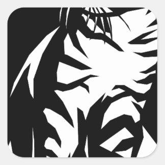 animal-157079  animal cat wild cat PETS BLACK WHIT Square Sticker