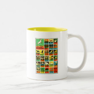 Animal abc alphabet Chart  teachers and learners Two-Tone Coffee Mug