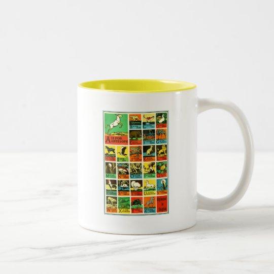 Animal abc alphabet Chart  teachers and learners Two-Tone Coffee Mug