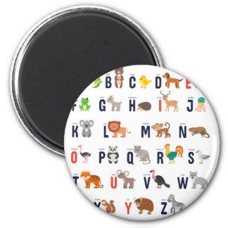 Animal ABCs - Alphabet 2 Inch Round Magnet