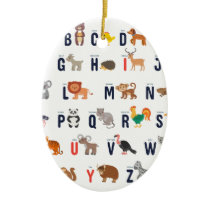 Animal ABCs - Alphabet Ceramic Ornament