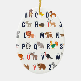 Animal ABCs - Alphabet Ceramic Ornament