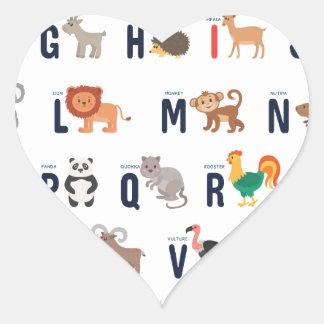 Animal ABCs - Alphabet Heart Sticker